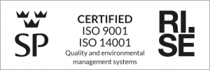 Certificates for ISO 9001, quality, and 14001, environment.
